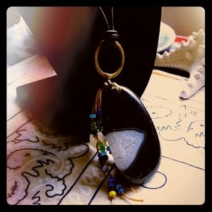 Long Handmade Necklace Onyx Agate Leather Necklace